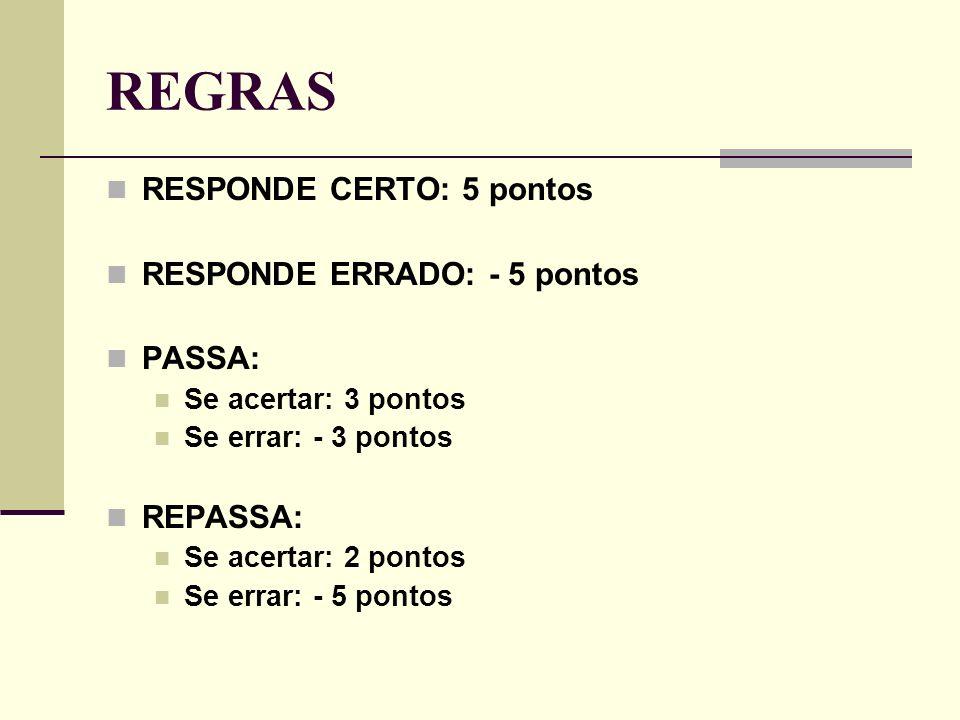 REGRAS RESPONDE CERTO: 5 pontos RESPONDE ERRADO: - 5 pontos PASSA: