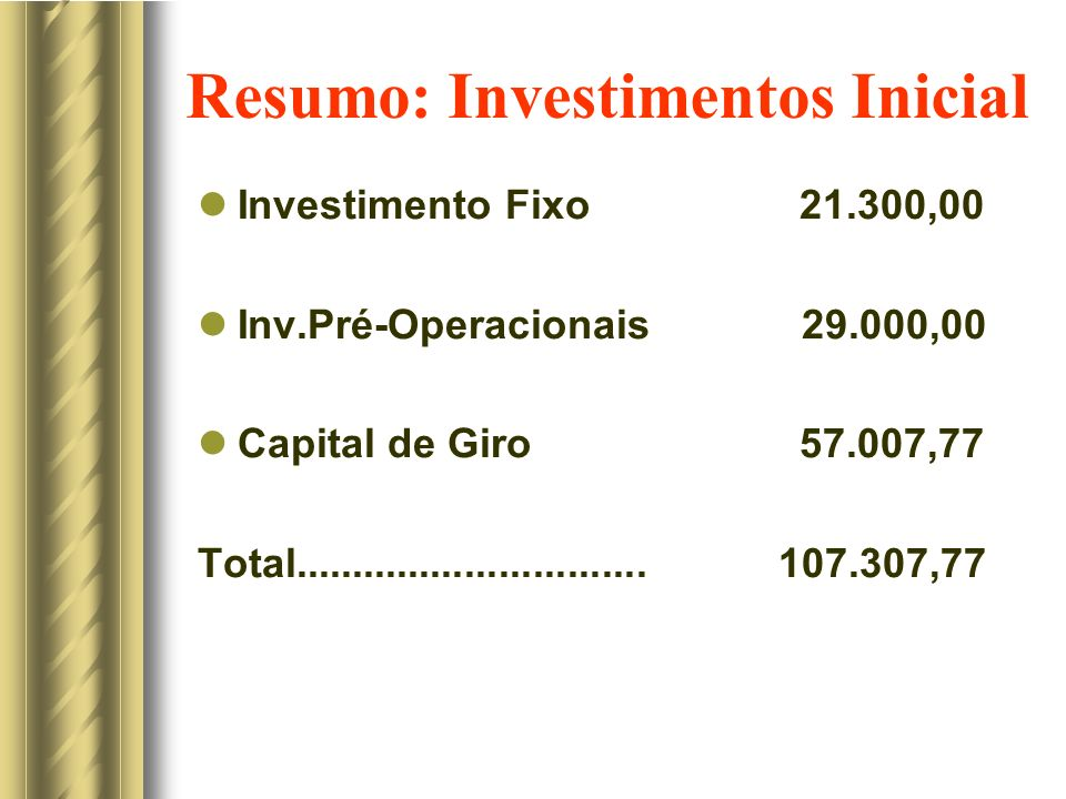 Resumo: Investimentos Inicial
