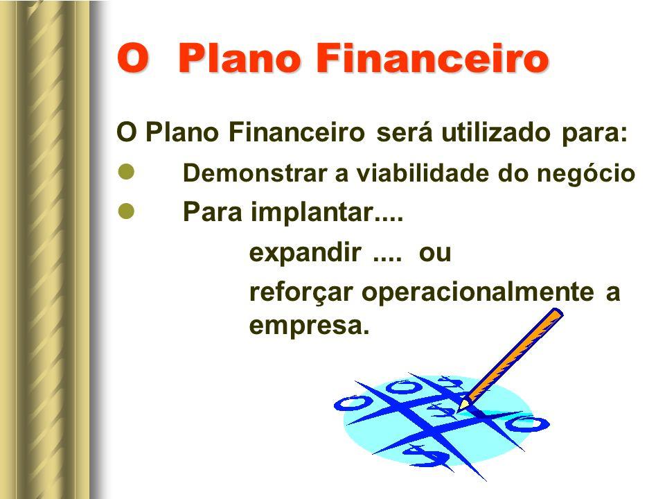 O Plano Financeiro O Plano Financeiro será utilizado para: