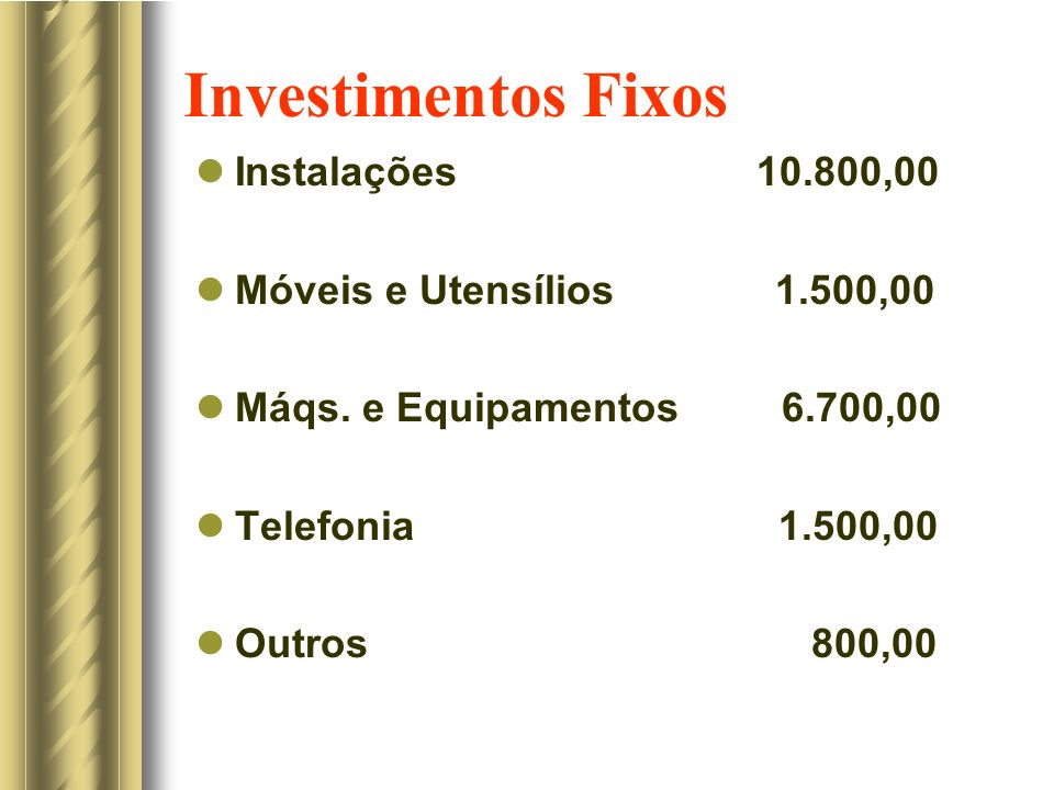 Investimentos Fixos Instalações 10.800,00 Móveis e Utensílios 1.500,00