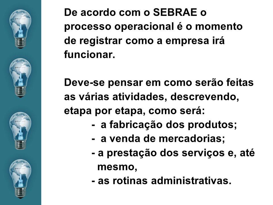 De acordo com o SEBRAE o processo operacional é o momento de registrar como a empresa irá funcionar.