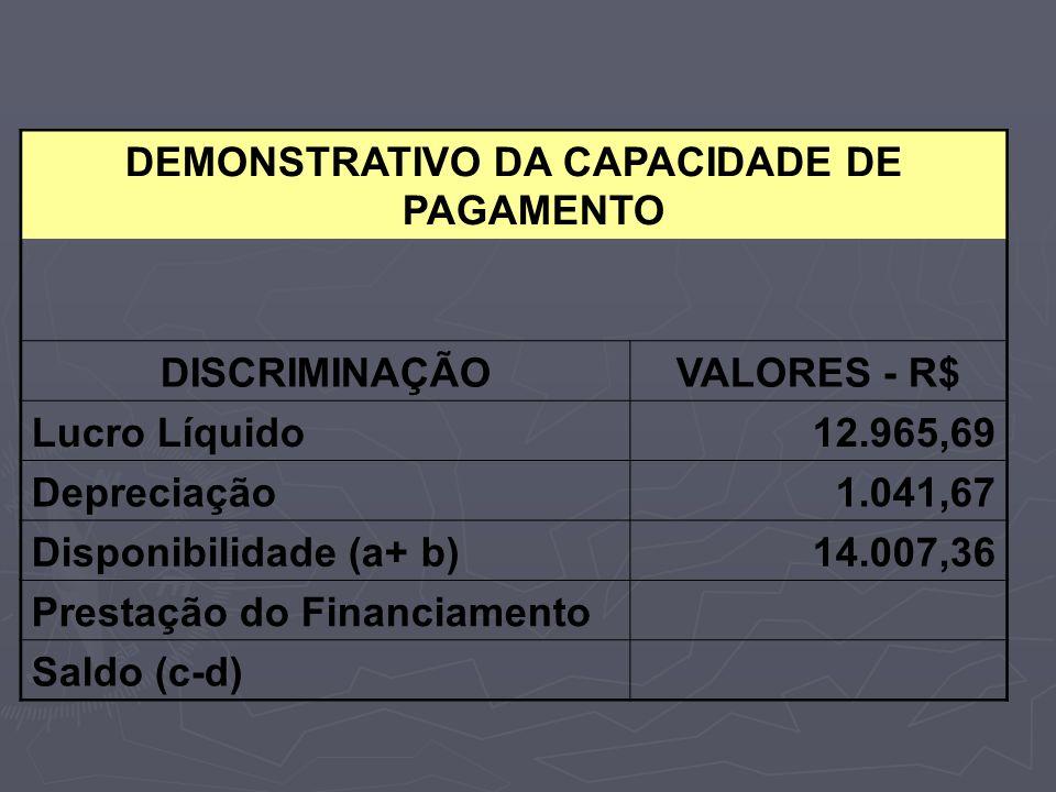 DEMONSTRATIVO DA CAPACIDADE DE PAGAMENTO