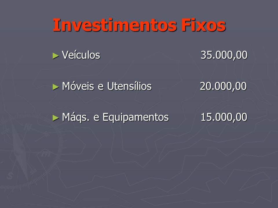Investimentos Fixos Veículos 35.000,00 Móveis e Utensílios 20.000,00