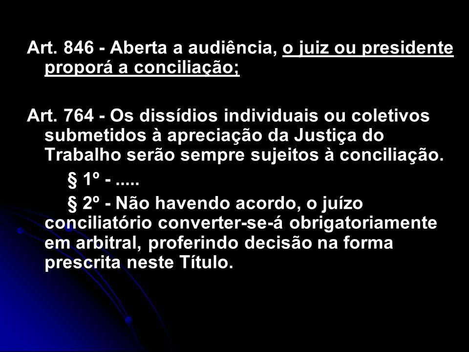 Art. 846 - Aberta a audiência, o juiz ou presidente proporá a conciliação;