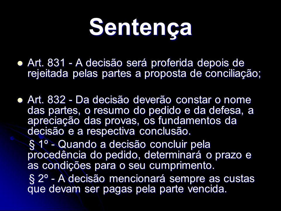 Sentença Art. 831 - A decisão será proferida depois de rejeitada pelas partes a proposta de conciliação;