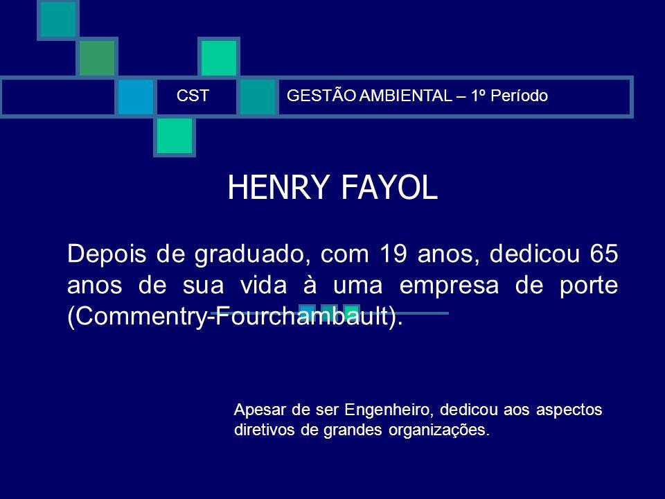 CST GESTÃO AMBIENTAL – 1º Período. HENRY FAYOL.