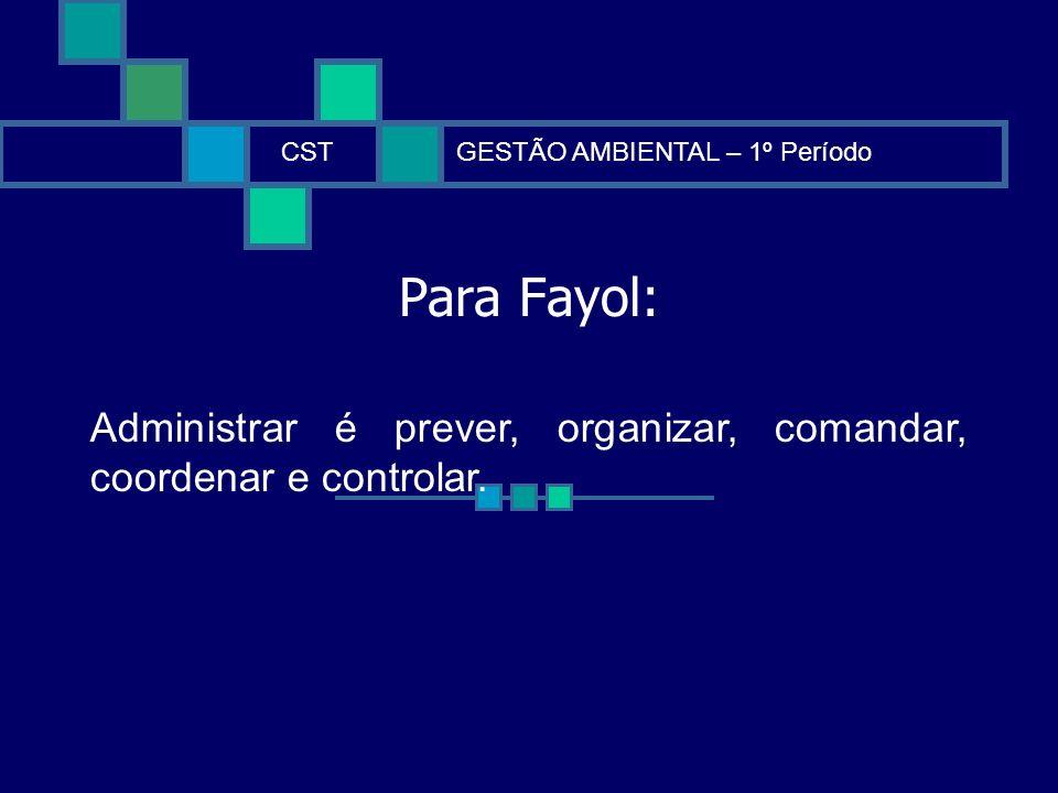 CST GESTÃO AMBIENTAL – 1º Período.