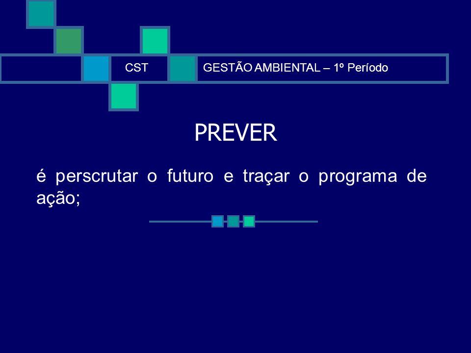 PREVER é perscrutar o futuro e traçar o programa de ação; CST