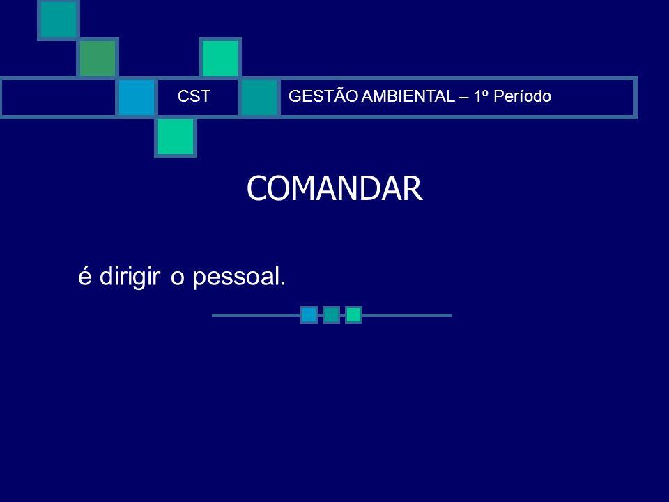 CST GESTÃO AMBIENTAL – 1º Período COMANDAR é dirigir o pessoal.