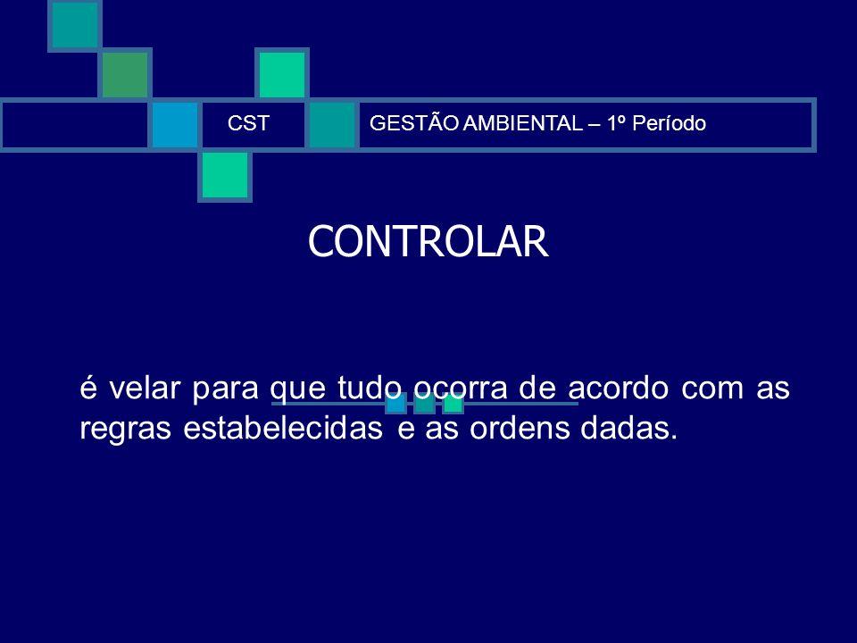 CST GESTÃO AMBIENTAL – 1º Período. CONTROLAR.