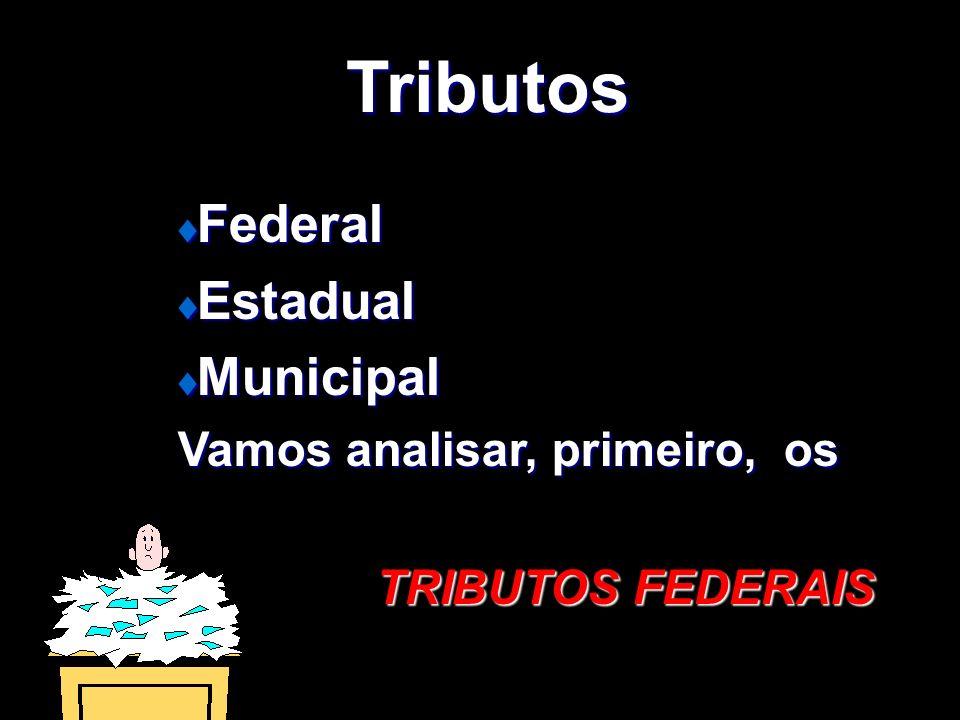 Tributos Federal Estadual Municipal Vamos analisar, primeiro, os