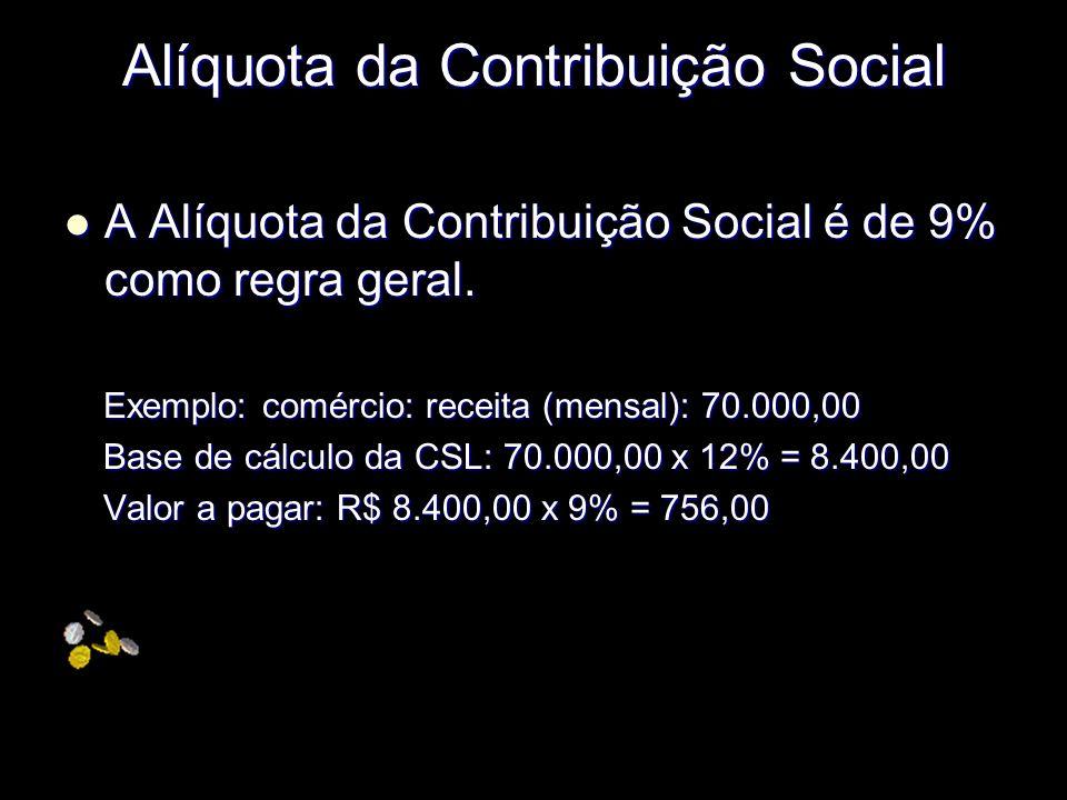 Alíquota da Contribuição Social