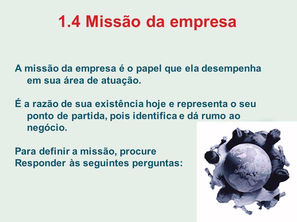 1.4 Missão da empresa A missão da empresa é o papel que ela desempenha em sua área de atuação.