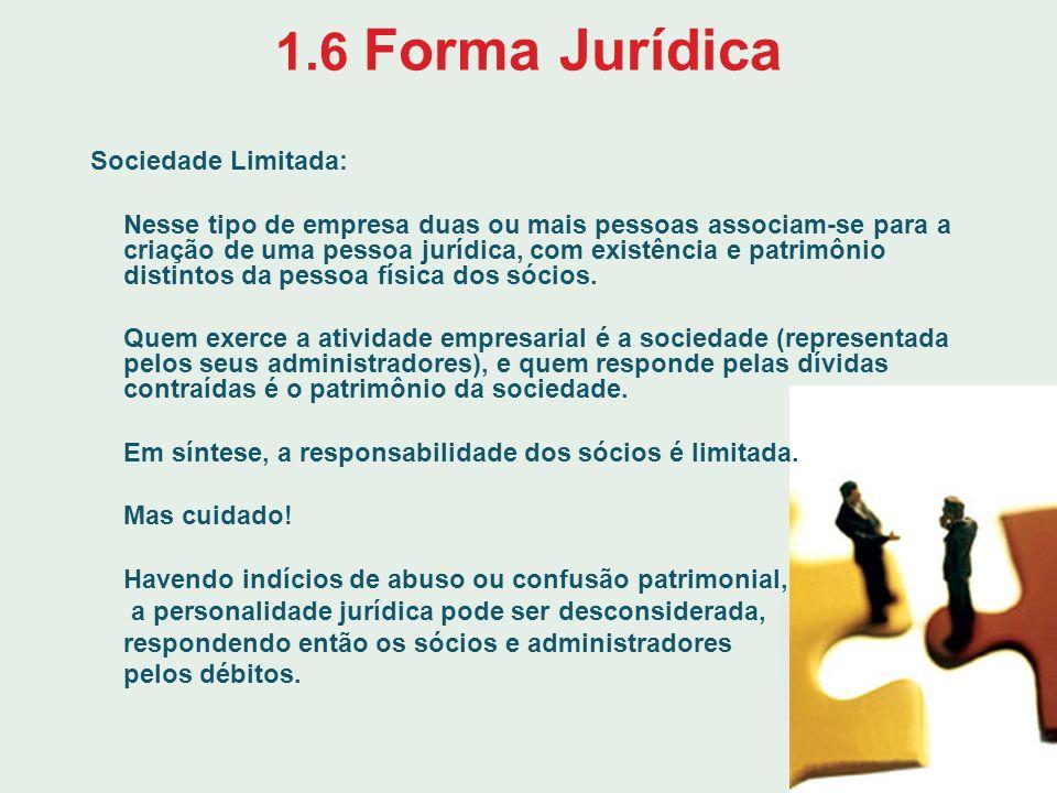 1.6 Forma Jurídica Sociedade Limitada: