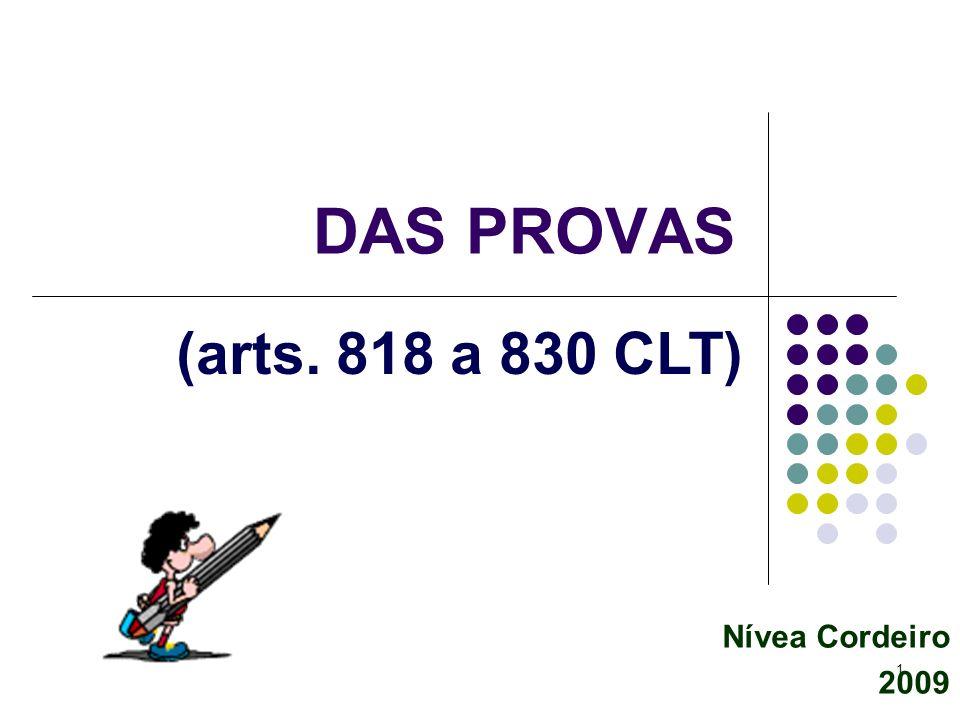 DAS PROVAS (arts. 818 a 830 CLT) Nívea Cordeiro 2009