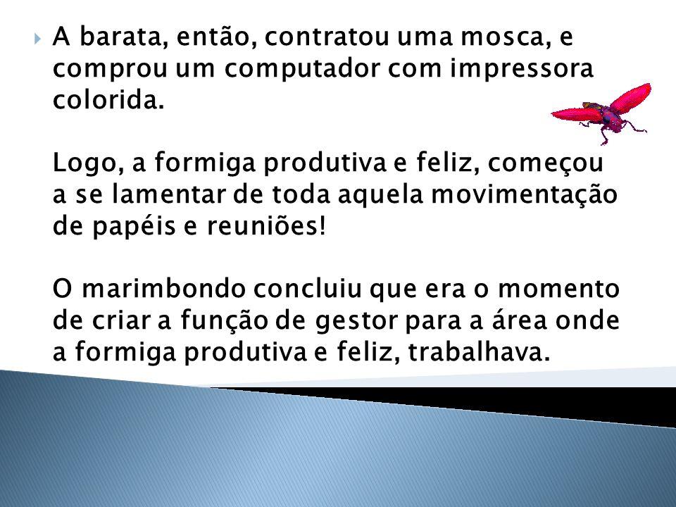 A barata, então, contratou uma mosca, e comprou um computador com impressora colorida. Logo, a formiga produtiva e feliz, começou a se lamentar de toda aquela movimentação de papéis e reuniões! O marimbondo concluiu que era o momento de criar a função de gestor para a área onde a formiga produtiva e feliz, trabalhava.
