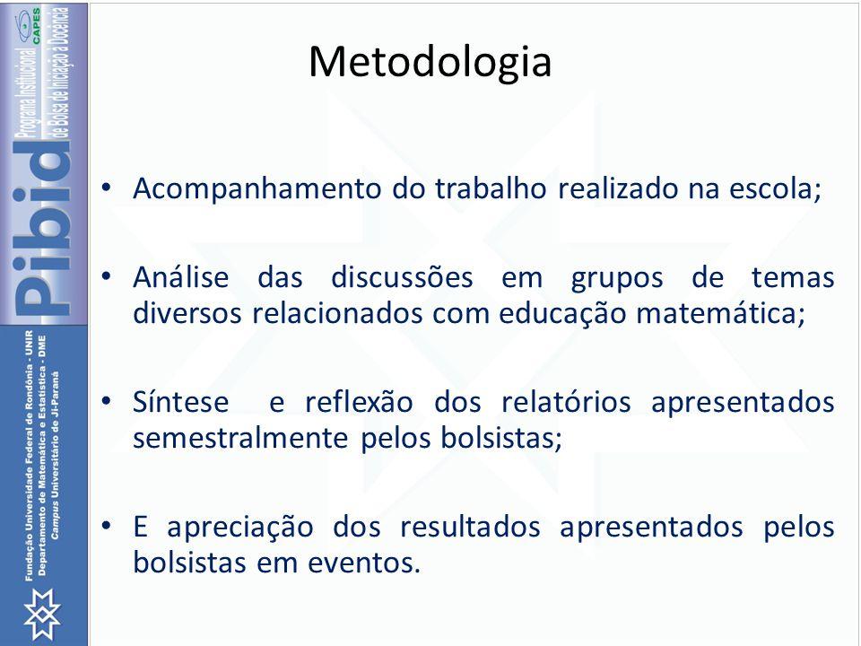 Metodologia Acompanhamento do trabalho realizado na escola;