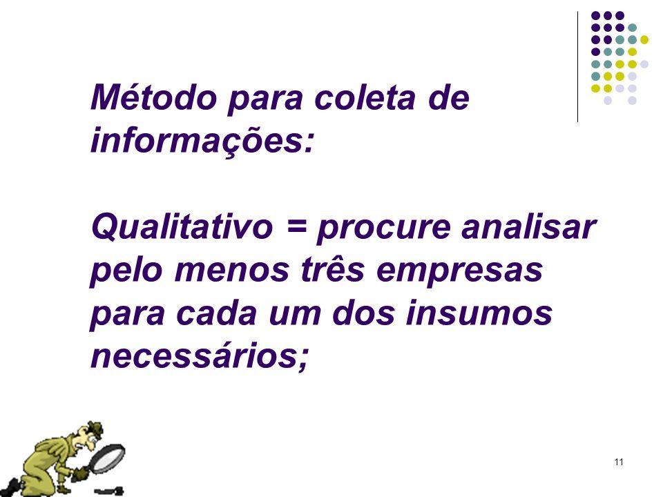Método para coleta de informações: Qualitativo = procure analisar pelo menos três empresas para cada um dos insumos necessários;