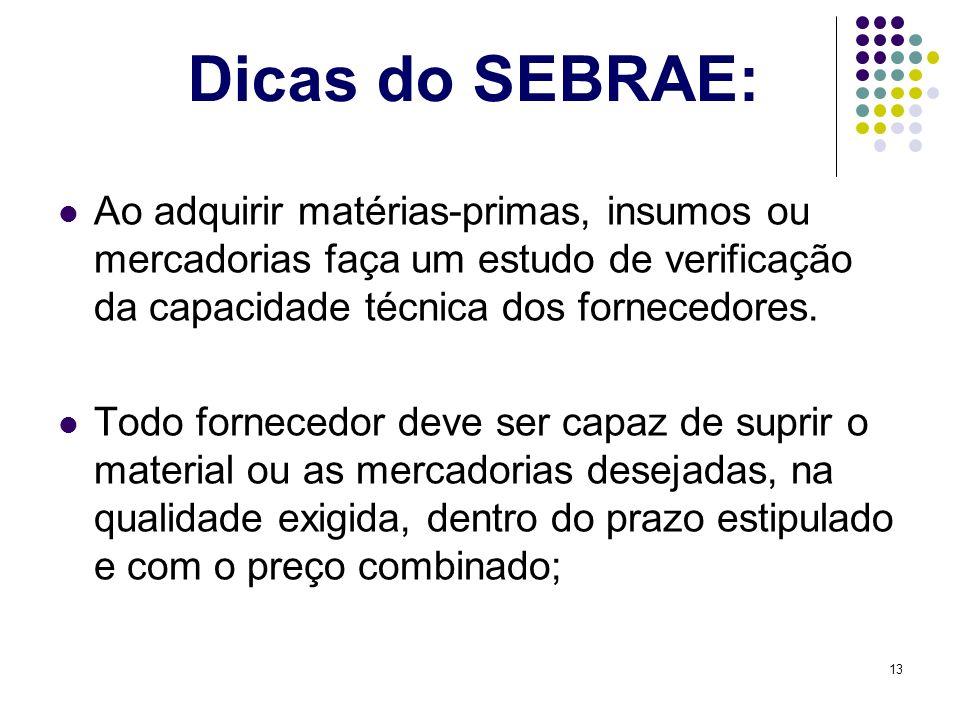 Dicas do SEBRAE: Ao adquirir matérias-primas, insumos ou mercadorias faça um estudo de verificação da capacidade técnica dos fornecedores.