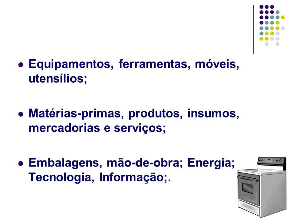 Equipamentos, ferramentas, móveis, utensílios;