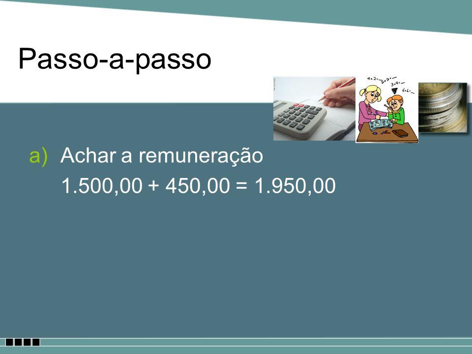 Passo-a-passo Achar a remuneração 1.500,00 + 450,00 = 1.950,00