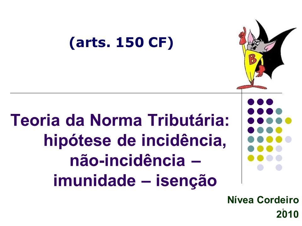 (arts. 150 CF) Teoria da Norma Tributária: hipótese de incidência, não-incidência – imunidade – isenção.