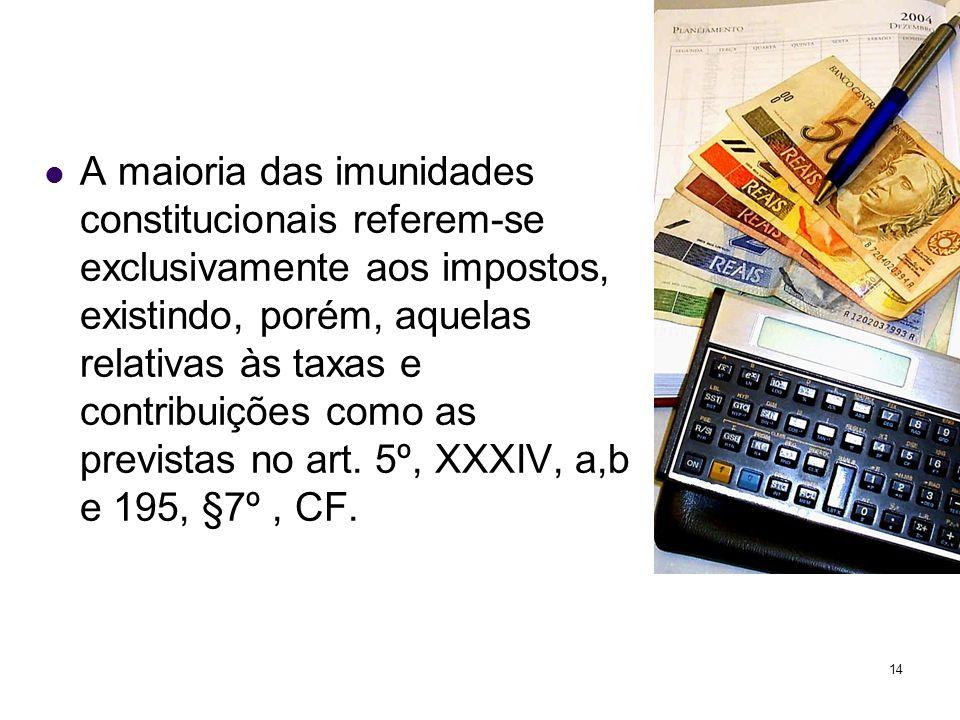 A maioria das imunidades constitucionais referem-se exclusivamente aos impostos, existindo, porém, aquelas relativas às taxas e contribuições como as previstas no art.