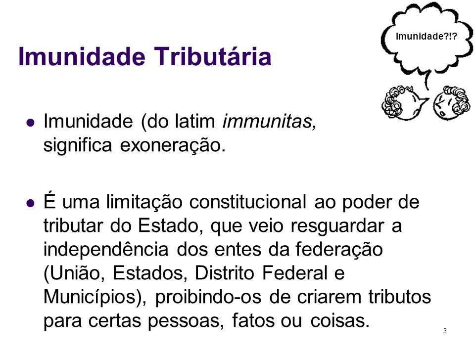 Imunidade Tributária Imunidade ! Imunidade (do latim immunitas, significa exoneração.