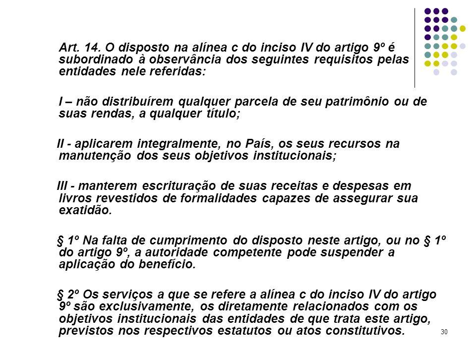 Art. 14. O disposto na alínea c do inciso IV do artigo 9º é subordinado à observância dos seguintes requisitos pelas entidades nele referidas: