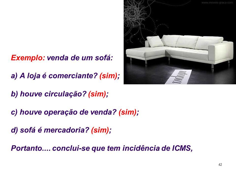 Exemplo: venda de um sofá: a) A loja é comerciante