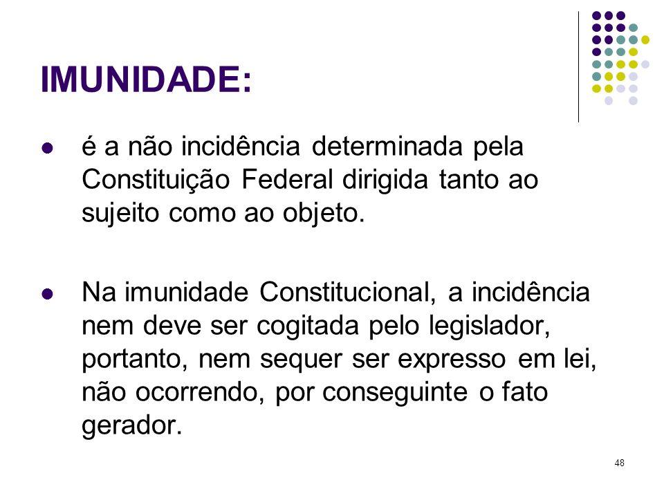 IMUNIDADE:é a não incidência determinada pela Constituição Federal dirigida tanto ao sujeito como ao objeto.