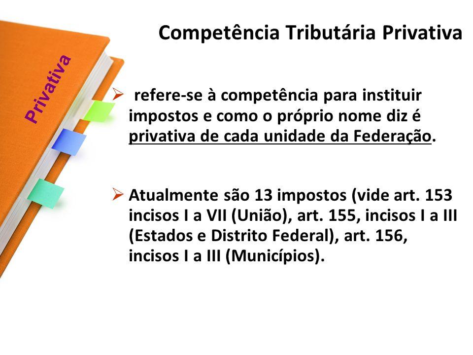 Competência Tributária Privativa