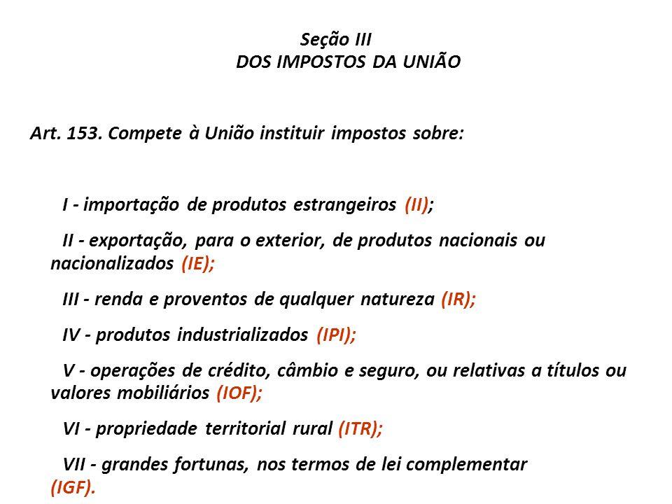 Seção III DOS IMPOSTOS DA UNIÃO