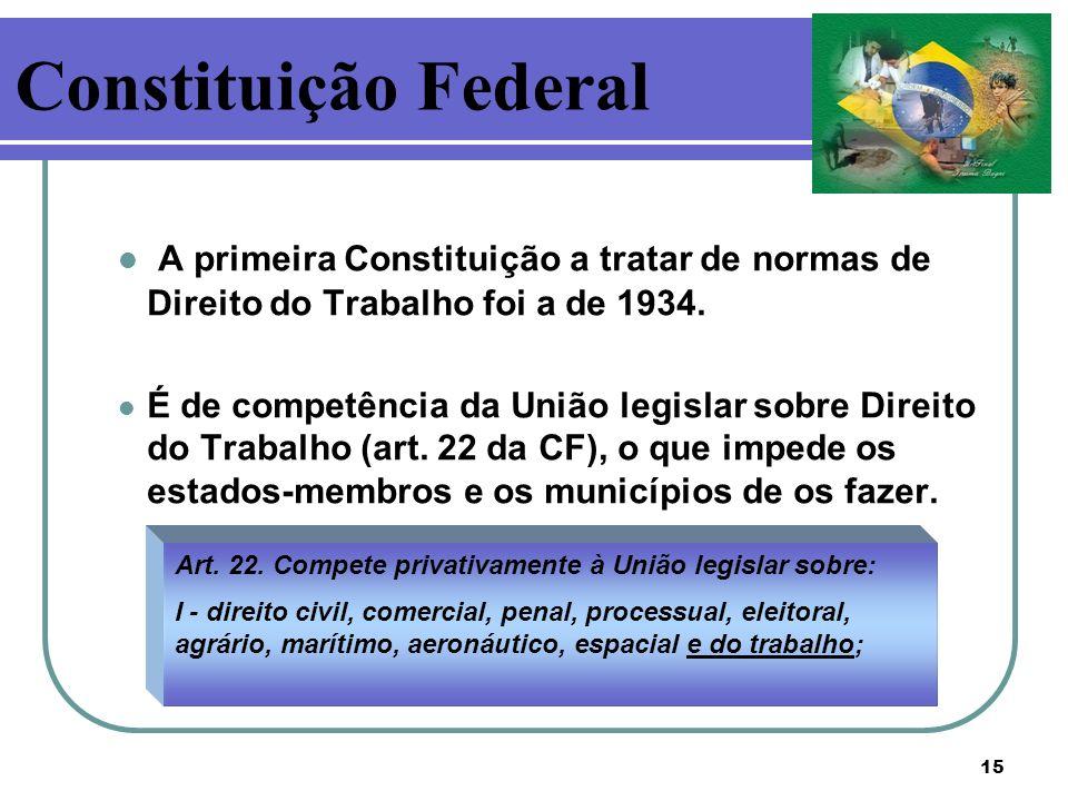 Constituição Federal A primeira Constituição a tratar de normas de Direito do Trabalho foi a de 1934.