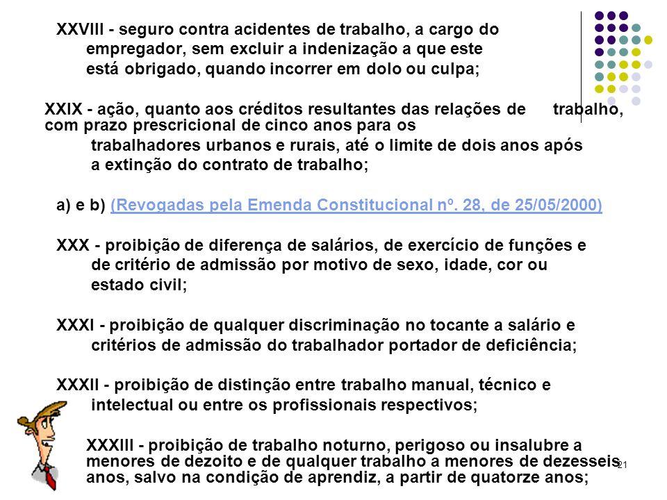 XXVIII - seguro contra acidentes de trabalho, a cargo do