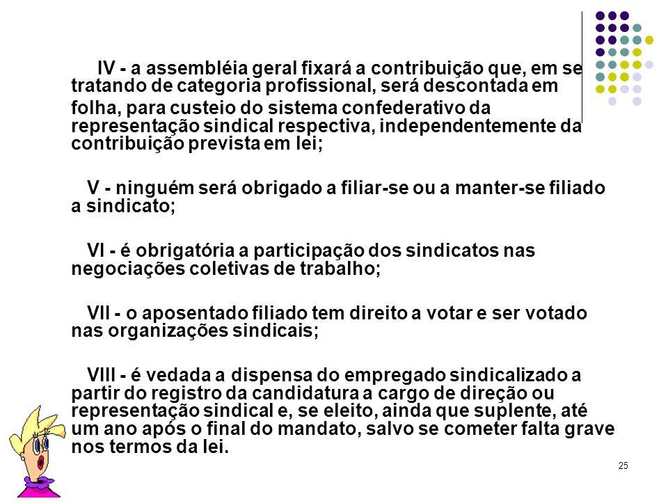 IV - a assembléia geral fixará a contribuição que, em se tratando de categoria profissional, será descontada em.