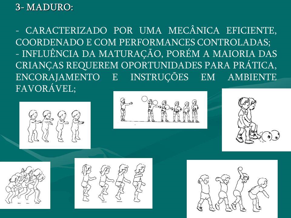 3- MADURO: - CARACTERIZADO POR UMA MECÂNICA EFICIENTE, COORDENADO E COM PERFORMANCES CONTROLADAS;
