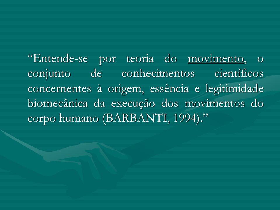 Entende-se por teoria do movimento, o conjunto de conhecimentos científicos concernentes à origem, essência e legitimidade biomecânica da execução dos movimentos do corpo humano (BARBANTI, 1994).