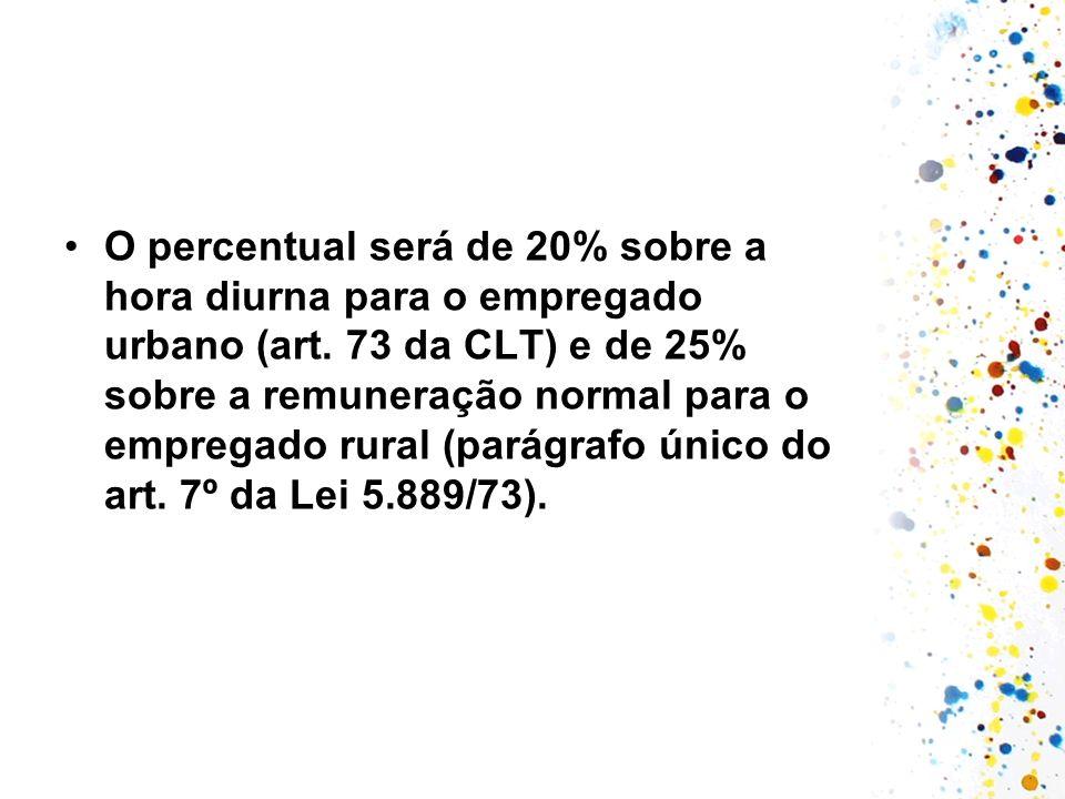 O percentual será de 20% sobre a hora diurna para o empregado urbano (art.