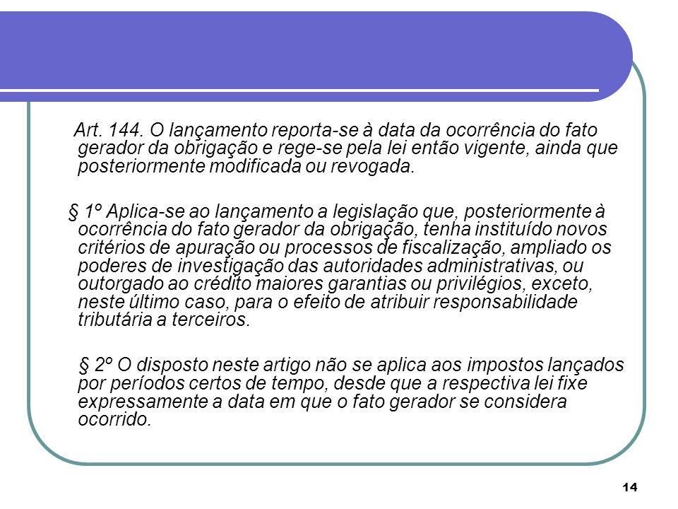 Art. 144. O lançamento reporta-se à data da ocorrência do fato gerador da obrigação e rege-se pela lei então vigente, ainda que posteriormente modificada ou revogada.