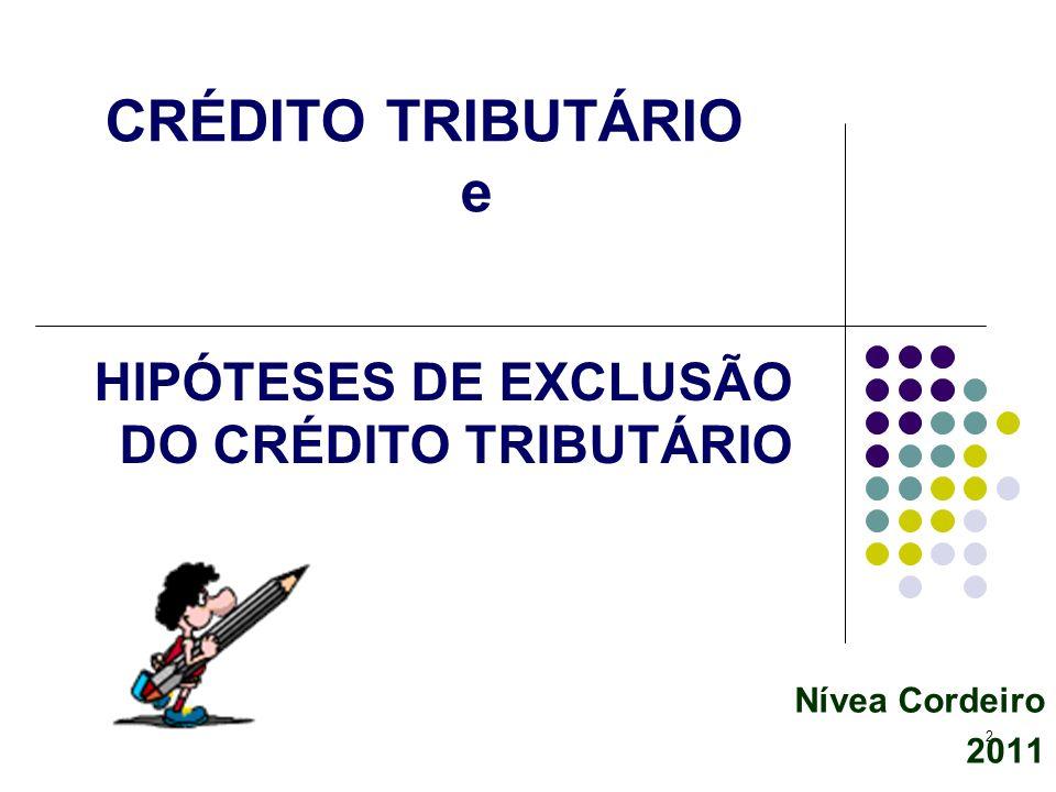 CRÉDITO TRIBUTÁRIO e HIPÓTESES DE EXCLUSÃO DO CRÉDITO TRIBUTÁRIO