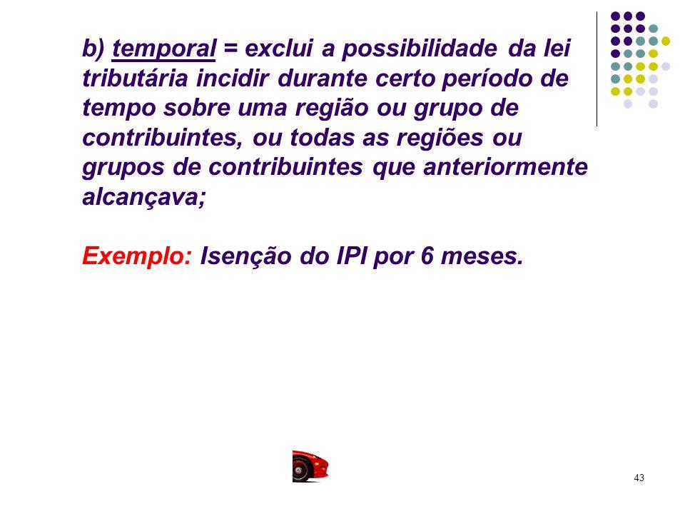 b) temporal = exclui a possibilidade da lei tributária incidir durante certo período de tempo sobre uma região ou grupo de contribuintes, ou todas as regiões ou grupos de contribuintes que anteriormente alcançava; Exemplo: Isenção do IPI por 6 meses.