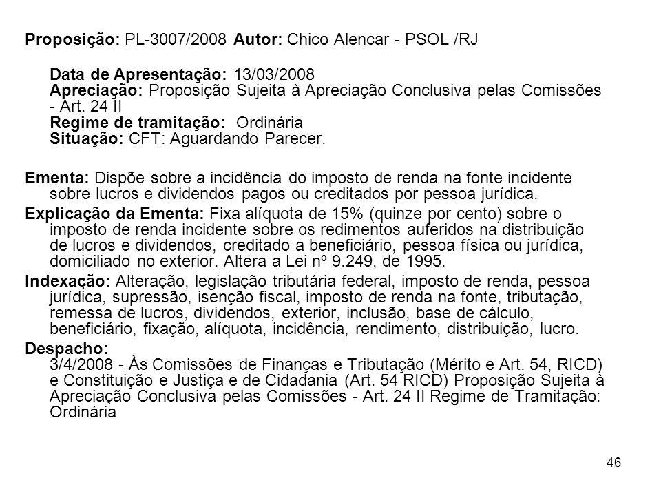 Proposição: PL-3007/2008 Autor: Chico Alencar - PSOL /RJ