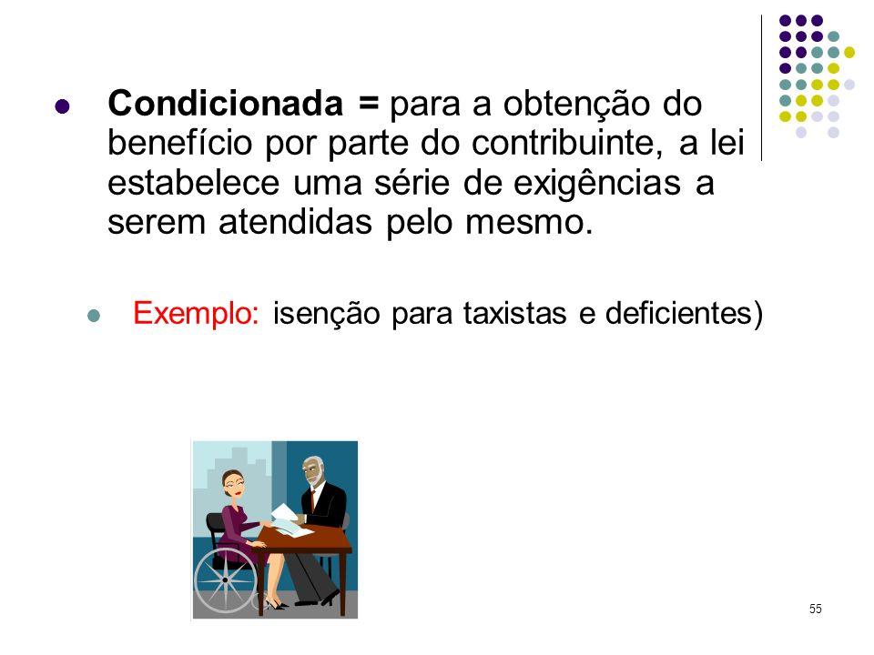 Condicionada = para a obtenção do benefício por parte do contribuinte, a lei estabelece uma série de exigências a serem atendidas pelo mesmo.