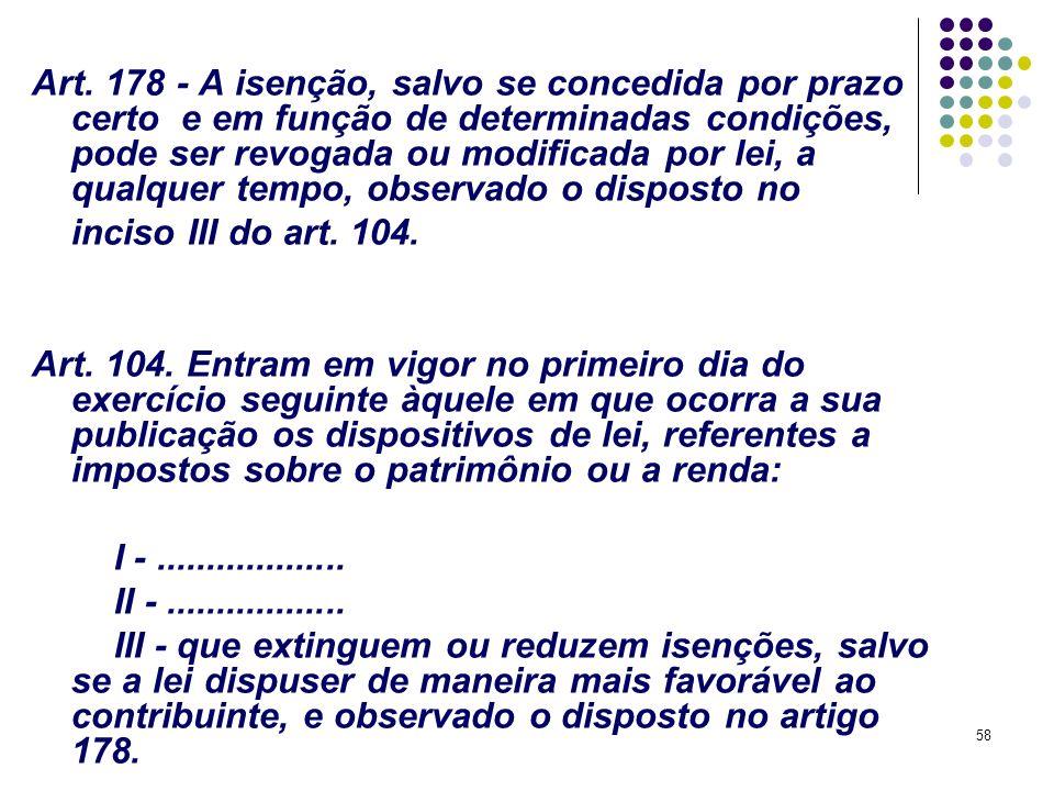 Art. 178 - A isenção, salvo se concedida por prazo certo e em função de determinadas condições, pode ser revogada ou modificada por lei, a qualquer tempo, observado o disposto no