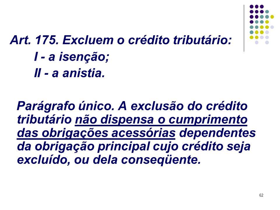 Art. 175. Excluem o crédito tributário: