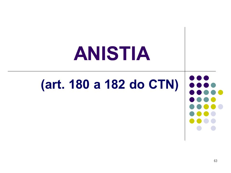 ANISTIA (art. 180 a 182 do CTN)