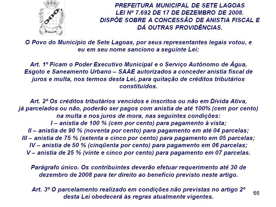 PREFEITURA MUNICIPAL DE SETE LAGOAS. LEI Nº 7