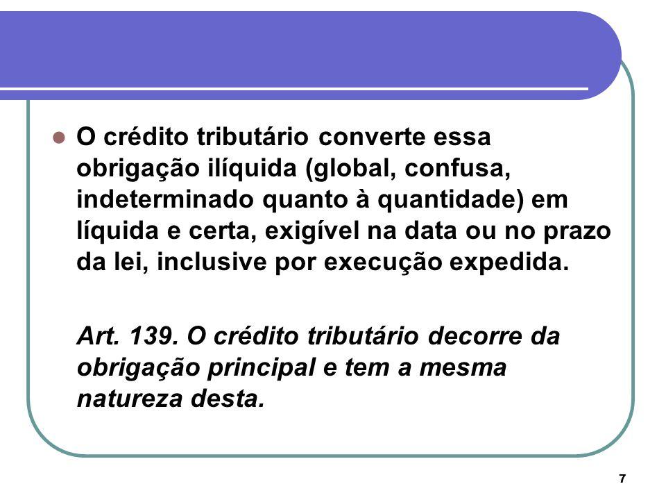 O crédito tributário converte essa obrigação ilíquida (global, confusa, indeterminado quanto à quantidade) em líquida e certa, exigível na data ou no prazo da lei, inclusive por execução expedida.