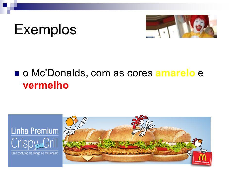 Exemplos o Mc Donalds, com as cores amarelo e vermelho